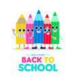welcome back to school cartoon pencil friends vector image vector image