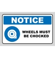 Wheels must be chocked before loading and vector image vector image