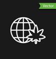 white line legalize marijuana or cannabis globe vector image vector image