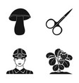 white mushroom scissors and other web icon in vector image vector image