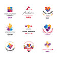 world autism day isolated icon puzzle and hands vector image