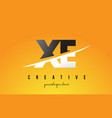 xe x e letter modern logo design with yellow vector image vector image