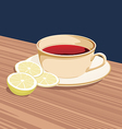 cup of tea and slices of lemon is on the saucer vector image