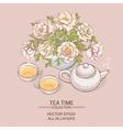 tea pot with tea cup and sugar bowl vector image