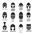 Warrior helmets black icons or logos set vector image