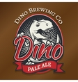 dino craft beer logo concept T-rex bar vector image