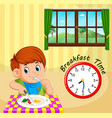 a boy breakfast time vector image