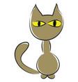 a cartoon brown cat or color vector image