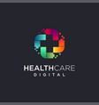 abstract techie medical logo icon template vector image
