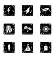 Attractions of Miami icons set grunge style vector image vector image