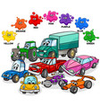 basic colors with cars and transport characters vector image vector image