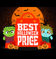 best halloween price design background vector image vector image