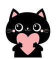 black cat kitten kitty head face holding big pink vector image vector image