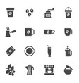 black coffee icons set vector image
