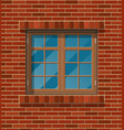 building facade classic window in brick wall vector image vector image