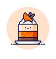 cheesecake cream jelly orange slice cinnamon vector image vector image
