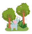 cute elephant with flowers and trees animal grass vector image vector image