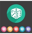 Dice game cube icon flat web sign symbol logo vector image vector image
