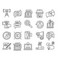 digital marketing outline icons vector image vector image
