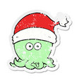 distressed sticker of a cartoon octopus wearing vector image vector image