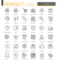 e-commerce and shopping thin line web icons set vector image