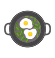 egg on griddle icon flat style vector image
