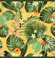 exotic tropical pattern plumeria flowers monstera vector image vector image