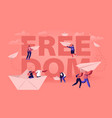 freedom concept happy people throwing paper vector image vector image