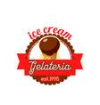 gelateria ice cream in wafer cone icon vector image vector image