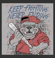 grunge style vintage bulldog handling baseball vector image