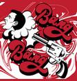 hand drawn shooting gun with screaming man and vector image vector image