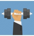 Hand holding dumbbell vector image vector image