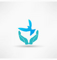 hands and dove icon vector image