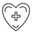 heart with cross line icon medicine and vector image vector image