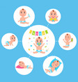 infant newborn baby set in different activity vector image