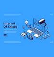 internet things isometric web banner iot vector image