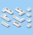 isometric set modern sofa modern couch with vector image