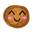 kawaii cute happy waffles with honey vector image vector image