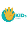 kids zone logo template of child palm hands vector image vector image