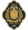 label of draft beer with barrel and coat of arms vector image vector image