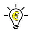 light bulb lamp with euro currency symbol vector image vector image