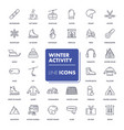 line icons set winter activity vector image
