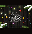 merry christmas wishing card template top view vector image vector image