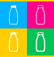 milk bottle sign four styles of icon on four vector image