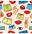 pattern with fashion patch badges vector image vector image