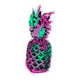 Pineapple fruit color art design for summer vector image