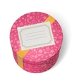 Pink decorated birthday gifts box with yellow vector image vector image