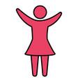 pink pictograph human woman flat design vector image vector image
