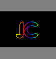 rainbow color colored colorful alphabet letter jc vector image vector image