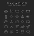 sea and beach line icons set vector image vector image